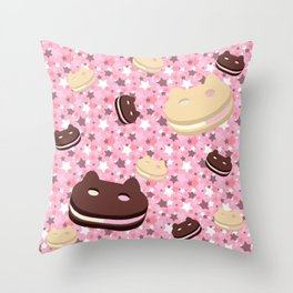 He left his family behind! Cookie Cat! Throw Pillow