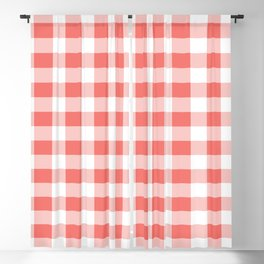 Coral Pink Buffalo Plaid Pattern Blackout Curtain
