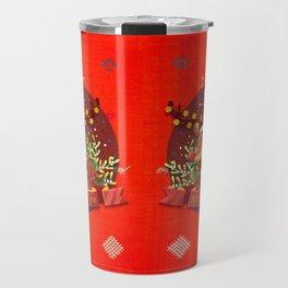 -A37- Merry Christmas Moroccan Traditional Background Artwork. Travel Mug