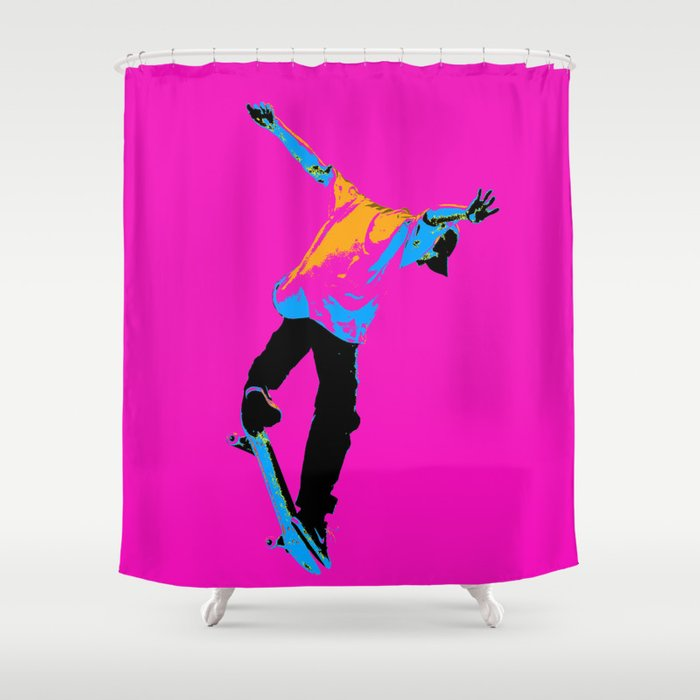 """Flipping the Deck"" Skateboarding Stunt Shower Curtain"