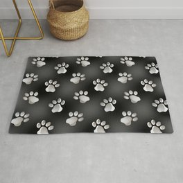 Black and Silver Animal Cat Dog Paw Prints Rug