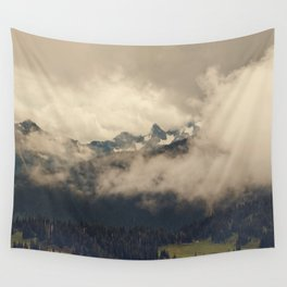 Mountains through the Fog Wall Tapestry