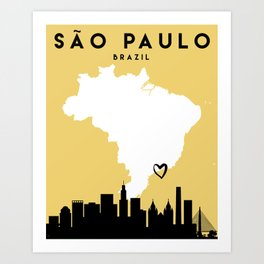 SAO PAULO BRAZIL LOVE CITY SILHOUETTE SKYLINE ART Art Print
