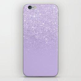 Stylish purple lavender glitter ombre color block iPhone Skin