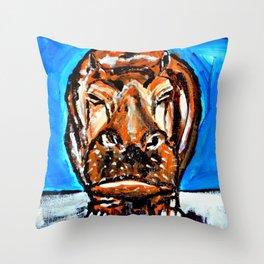 Happy Potamus Throw Pillow