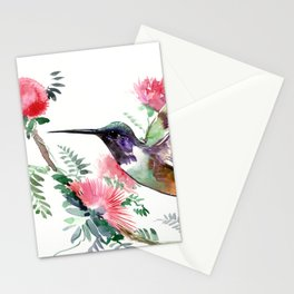 Flying Hummingbird and Red Flowers Stationery Cards