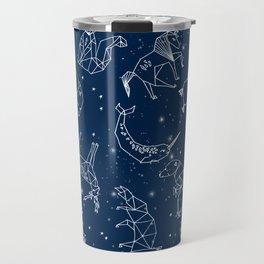 Origami Constellations - geometric animals constellations design - navy blue Travel Mug