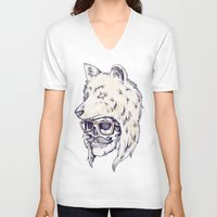 hat V-neck T-shirts featuring WOLF HAT by Mike Koubou
