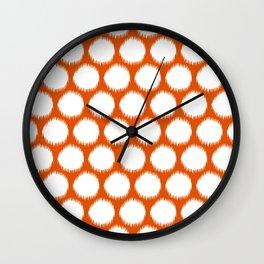 Persimmon Asian Moods Ikat Dots Wall Clock