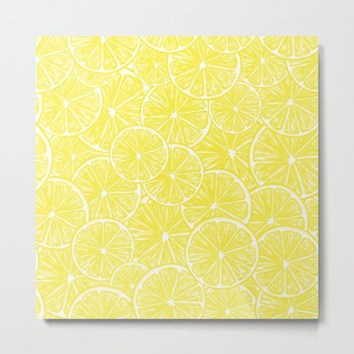 Lemon slices pattern design Metal Print