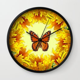 Monarch Butterfly Creany Yellow Sunflower Circle Wall Clock