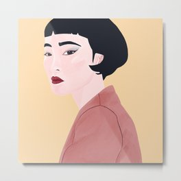 Portrait of Asian Women with Slanted Eyes Metal Print