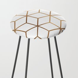 White and Gold - Geometric Cube Design Counter Stool
