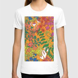 Psychedelic Vines in Mod Mango Orange T-shirt