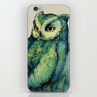 bianca green iPhone & iPod Skins featuring Green Owl by Teagan White