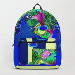 BLUE PEACOCKS & MORNING GLORIES PARALLEL YELLOW PATTERNED ART Backpack