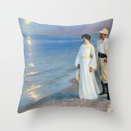 Summer Evening On The Beach At Skagen - Digital Remastered Edition Throw Pillow