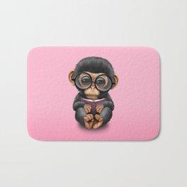 Cute Pink Baby Chimp Reading a Book Bath Mat
