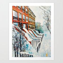 Brooklyn New York In Snow Storm Art Print