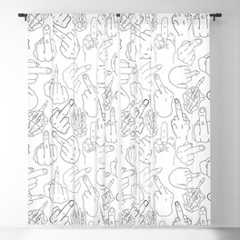 Middle Finger Party Black White Blackout Curtain