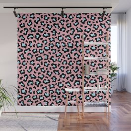 Leopard fur texture pattern: pink and blue background. Wall Mural