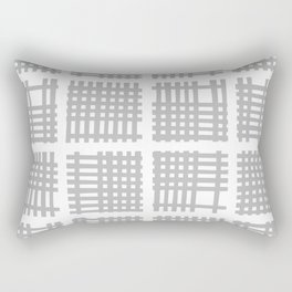 Mid Century Modern Abstract Squares Gray Rectangular Pillow