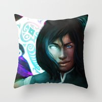 the legend of korra Throw Pillows featuring Korra by Nicole M Ales