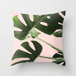 Monstera x Pink Throw Pillow
