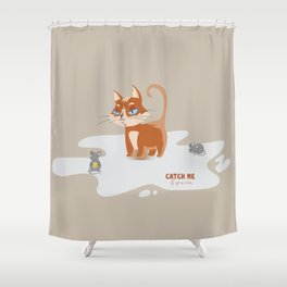 Ginger Cat and Mice Catch me If You Can Shower Curtain
