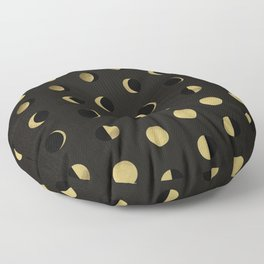 The Lunar Cycle • Phases of the Moon – Black & Gold Palette Floor Pillow