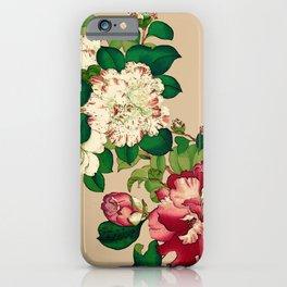 Vintage Japanese Camellias. Deep Pink on Beige iPhone Case