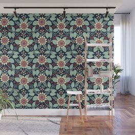 Red, Turquoise, Cream & Navy Blue Floral Pattern Wall Mural