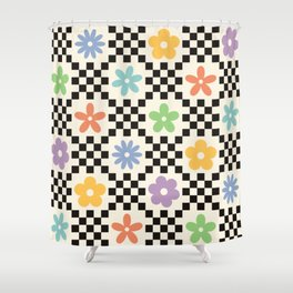 Retro Colorful Flower Double Checker Shower Curtain