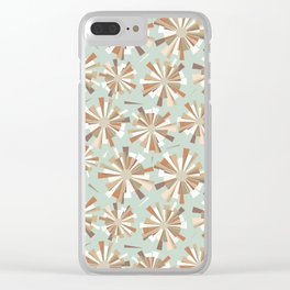 Shattered fragments mint green background Clear iPhone Case