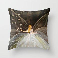 Golden Butterfly Fairy Throw Pillow