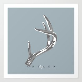 Antler Grey and White on Blue - Right Art Print