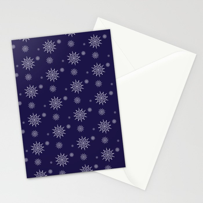 Snowflakes at Night Stationery Cards