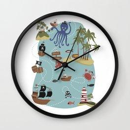 Pirate Treasure Map Wall Clock