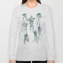 hanging plant in seashell Long Sleeve T-shirt