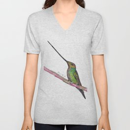 Sword Billed Humming Bird Unisex V-Neck