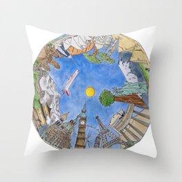 A Round the World Throw Pillow