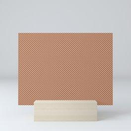 Ligonier Tan SW 7717 Tiny Uniform Polka Dot Pattern 1 on Cavern Clay SW 7701 Mini Art Print