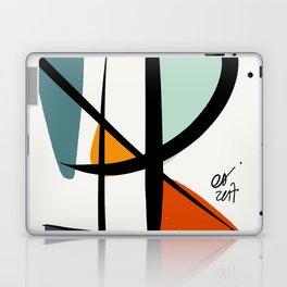 Abstract Minimal Lyrical Expressionism Art Blue Orange Laptop & iPad Skin