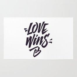 Love Wins Brush Lettering Rug