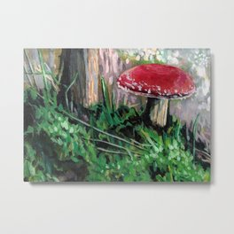 Cute Mushroom Red Amanita Alaska Fungus Art Adorable Fungi Metal Print