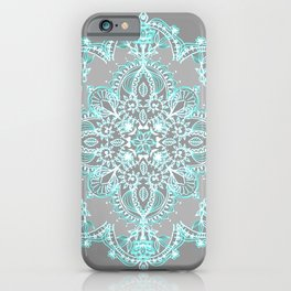 Teal and Aqua Lace Mandala on Grey iPhone Case