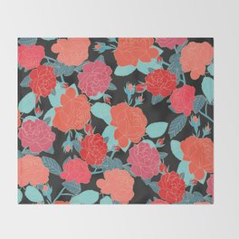 Rose Garden - Dark Throw Blanket