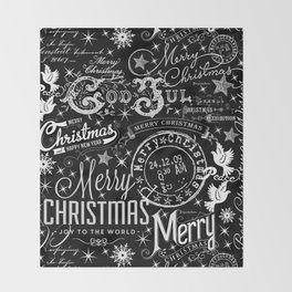Black and White Christmas Typography Design Throw Blanket