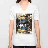 volkswagon V-neck T-shirts featuring Bug Life by sysneye