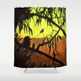 Kookaburra Silhouette Sunset Shower Curtain